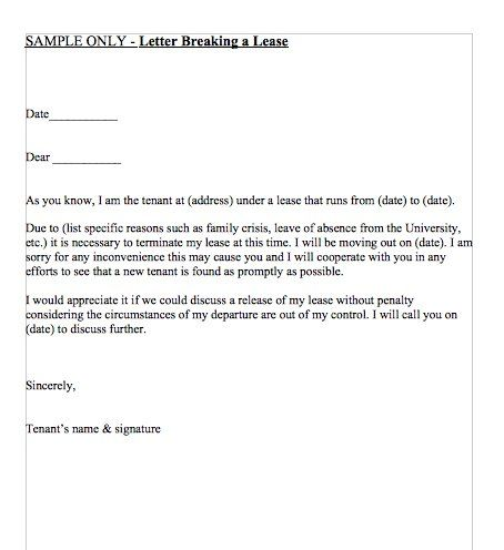 Letter Breaking a Lease April 2016 Sample resume, Letter sample