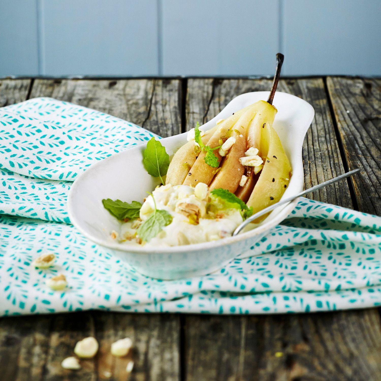 Marinoidut päärynät ja sitruunajäätelö   K-ruoka