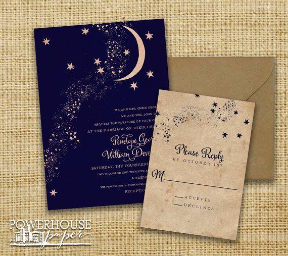 Rustic Kraft Moon Stars Wedding Invitation Star wedding Moon