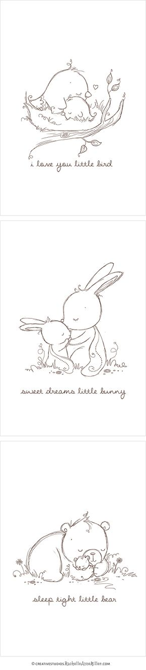 baby animal sketches great for greeting cards or other creative projects embroidery