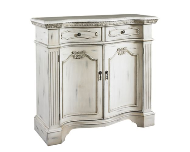Mansion Aged White Fluted Pilaster 2-door, 2-drawer Cabinet