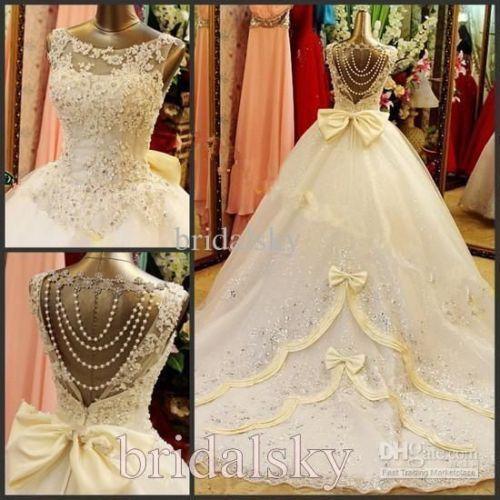 Elegante Braut Weiß Elfenbein Bowknot Brautkleid Ballkleid ...