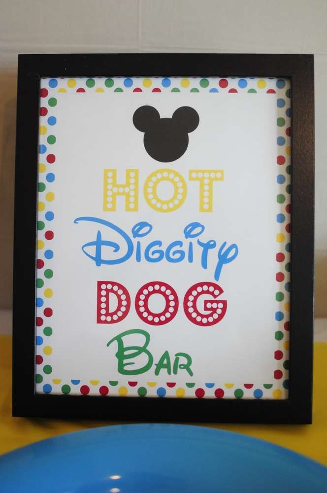 Hot Diggity Dog Bar Sign - Joshu0027s 3rd Mickey Mouse Clubhouse Celebration | CatchMyParty.com & Mickey Mouse Clubhouse Birthday Party Ideas | Pinterest | Mickey ...