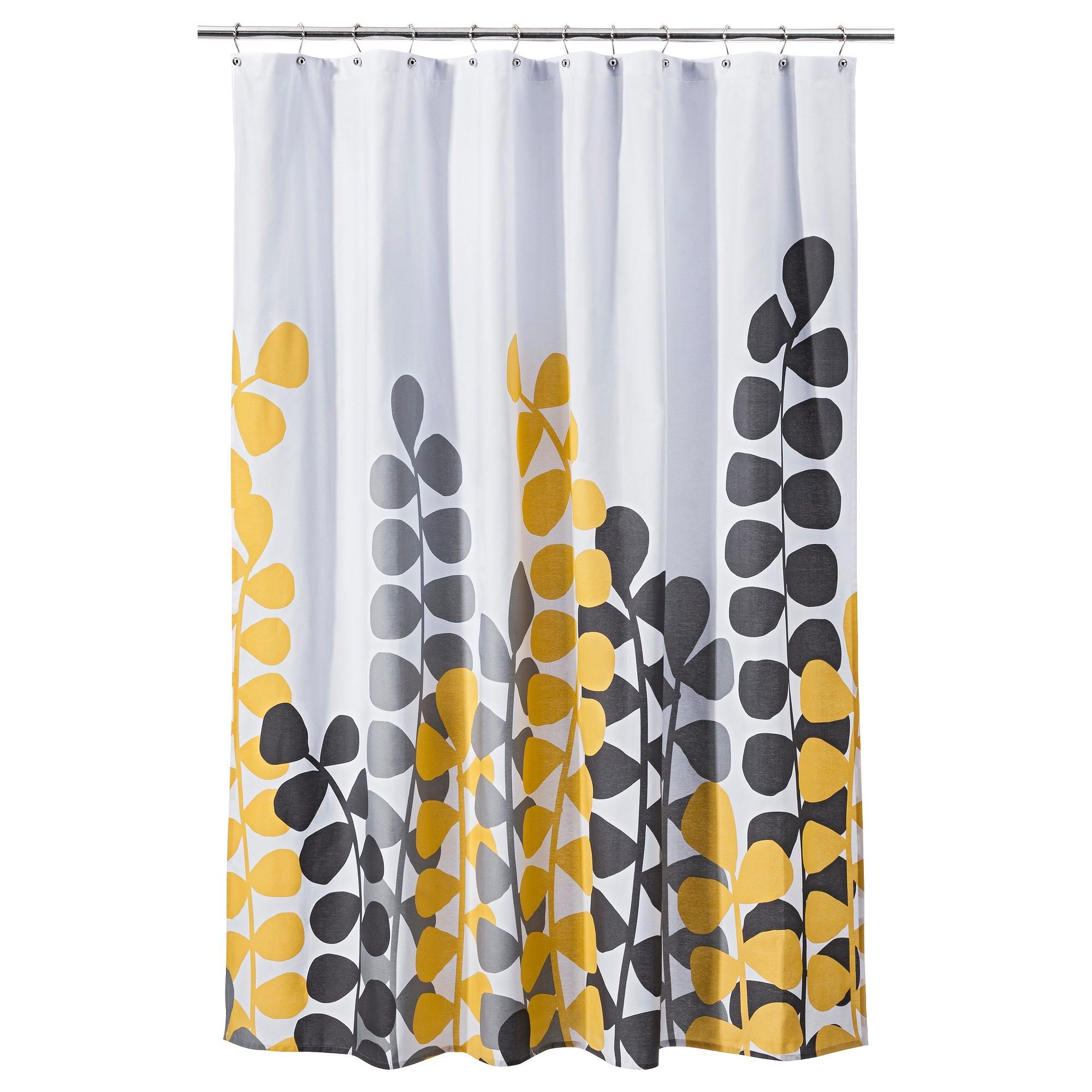 vine shower curtain yellow gray