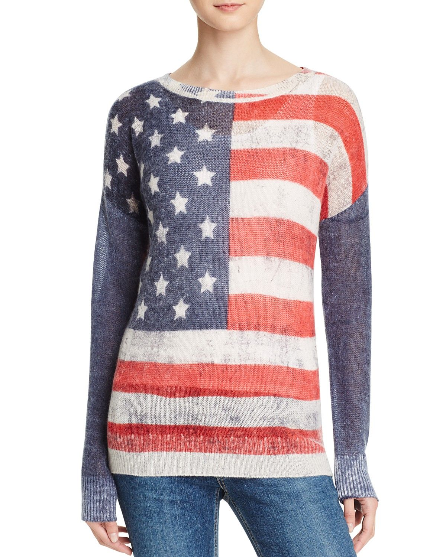 AQUA Cashmere American Flag Cashmere Sweater | Knitwear ...