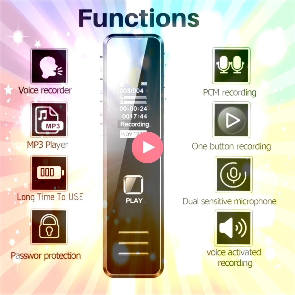 Voice Recorder 20 Hour Recording MP3 Player Mini Voice Recording Pen for Lectures Meetings Digital Voice Recorder 20 Hour Recording MP3 Player Mini Voice Recording Pen fo...