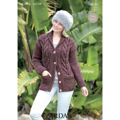 Easy Knit Cable Cardigan with Pockets in Sirdar Big Softie ...