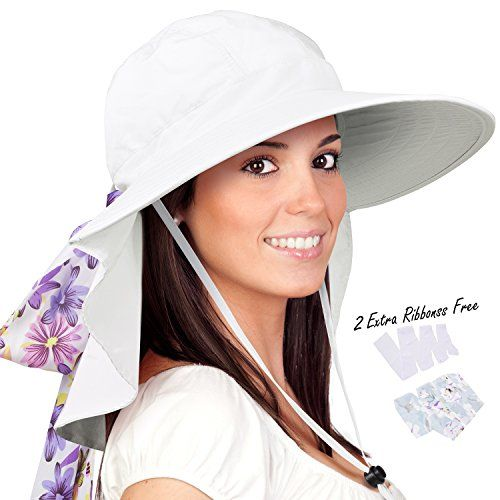 3a44296ece8 Womens Sun Hats Neck Flap Large Brim UV Protection Foldable Fishing Hiking  Cap. For product