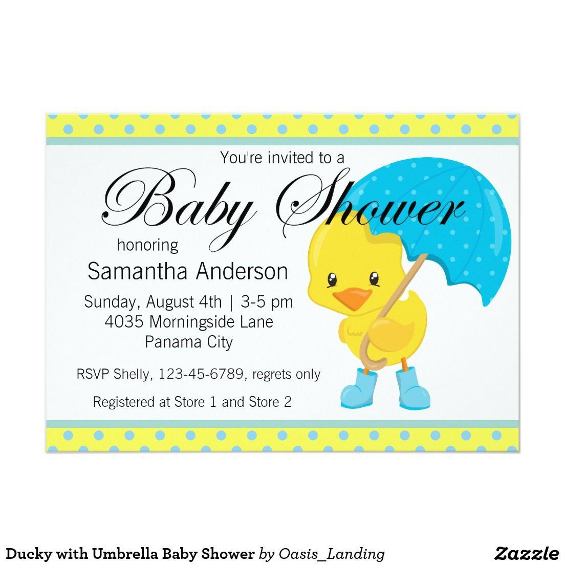 Ducky with Umbrella Baby Shower Card   Umbrella baby shower