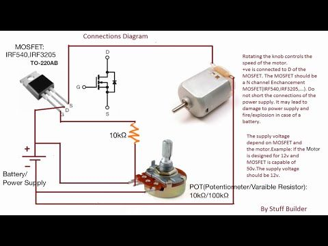 Update 3 How To Build The Simplest Dc Motor Speed Controller Using Mosfet And Potentiometer Youtube Motor Speed Circuit Diagram Electronics Mini Projects
