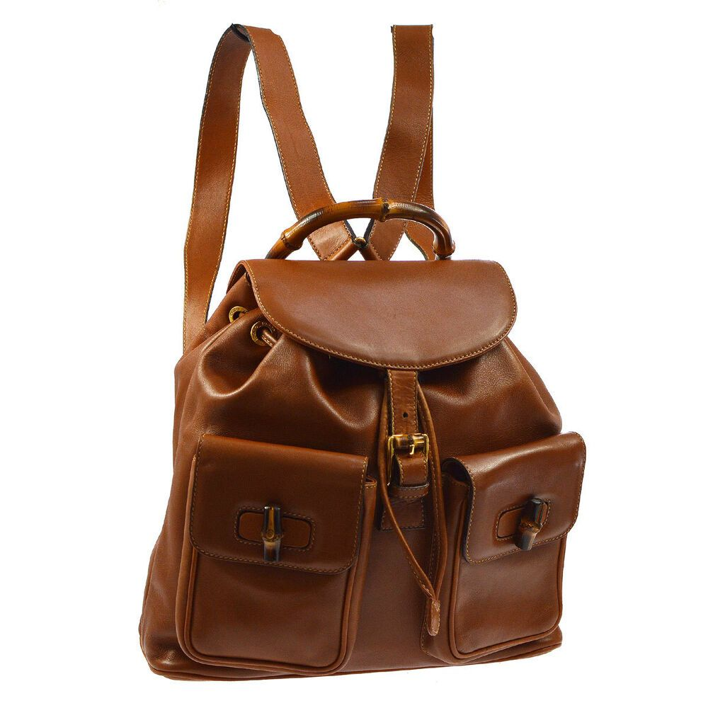 00fca03944f Auth GUCCI Bamboo Handle Backpack Hand Bag Brown Leather Vintage ...