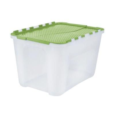 Hdx 4 Gal Flip Top Storage Tote In Green 229903 The Home Depot Tote Storage