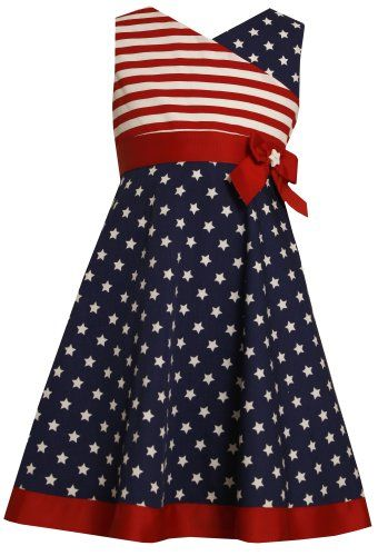 Red white blue- Girls party dresses and Stripe print on Pinterest
