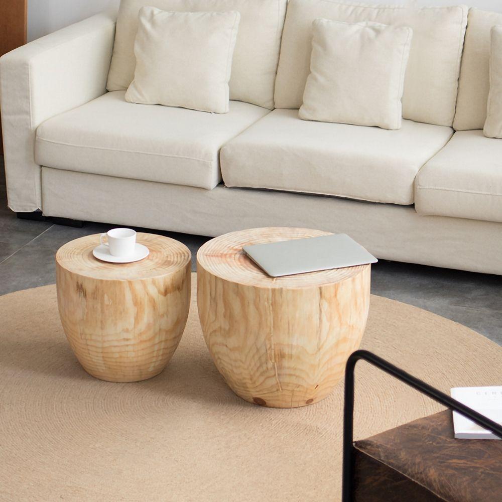 Round Pine Wood Drum 2 Piece Coffee Table Set Living Room In 2021 Coffee Table Coffee Table Setting Living Room Coffee Table [ 1000 x 1000 Pixel ]
