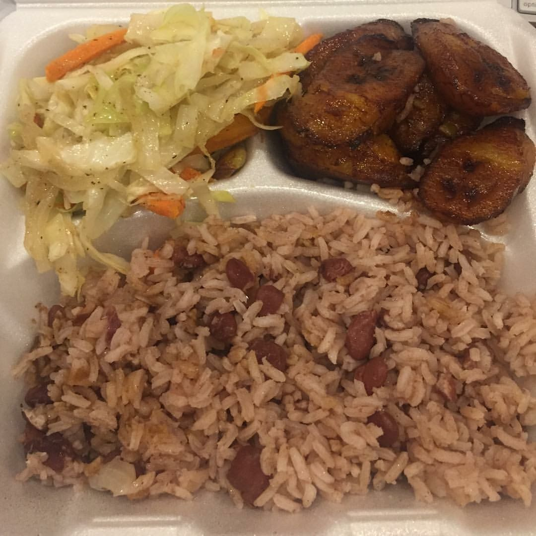 Jamaican food rice and peas cabbage and fried plantains