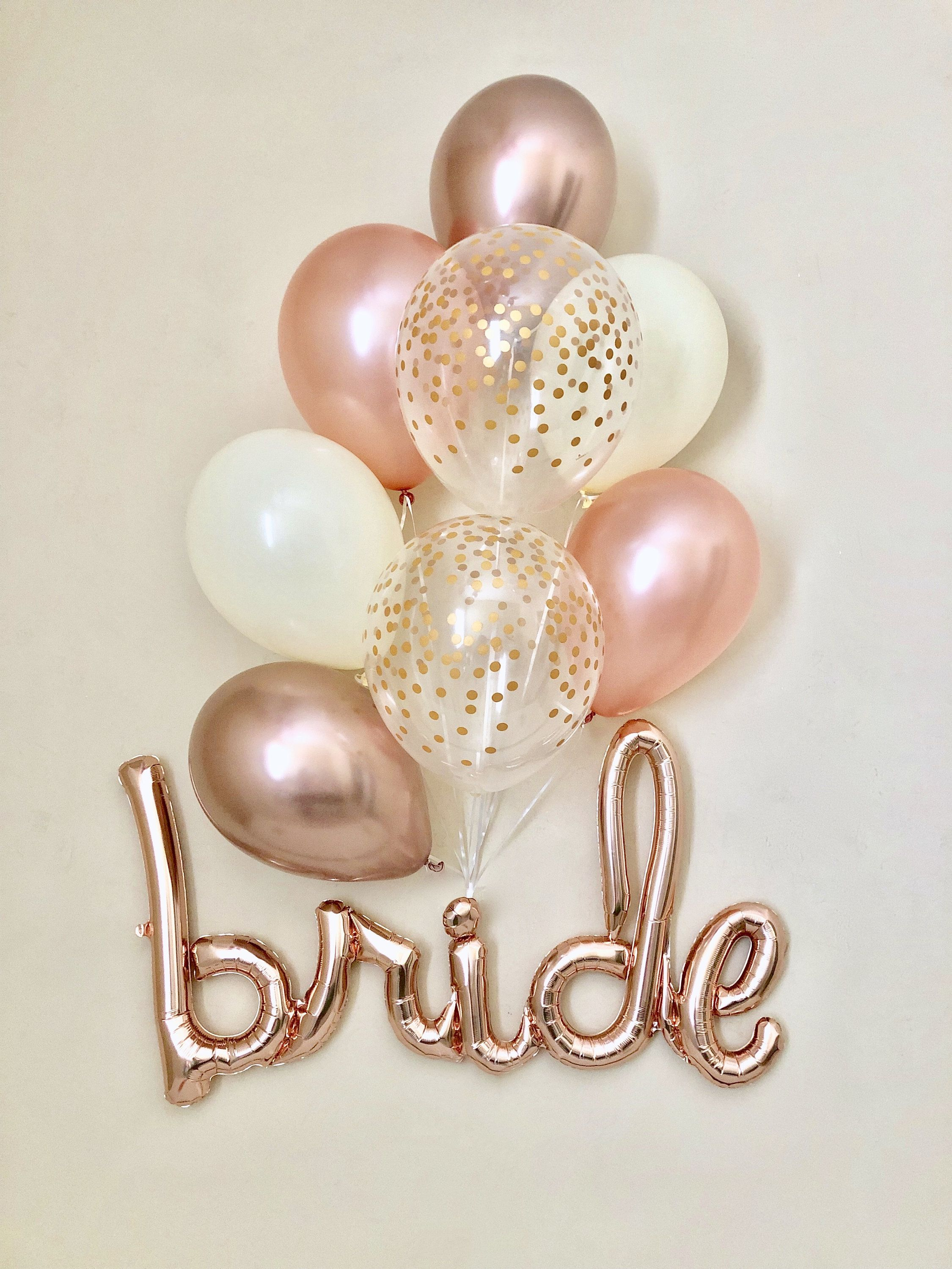 Bride Rose Gold Script Balloon~Chrome Rose Gold Balloons~Wedding Shower Decor~Gold Confetti Balloon~Bridal Shower~Engagement Party~Rose Gold