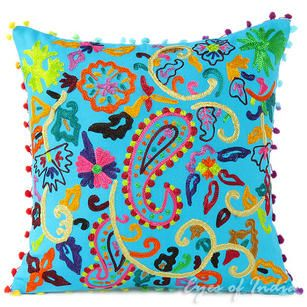 Fantastic Pink Orange Blue Embroidered Colorful Throw Pillow Bohemian Pdpeps Interior Chair Design Pdpepsorg