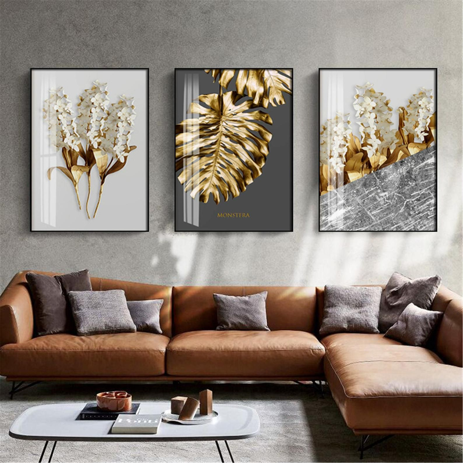 Nordic Golden abstract leaf flower Wall Art Canvas
