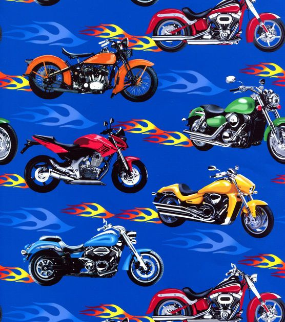 Novelty Quilt Fabric-Motorcycle Flames at Joann.com | FABRICS ...