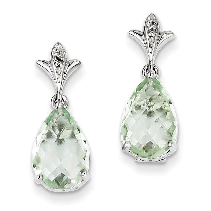 Sterling Silver Green Quartz and Diamond Earrings QE9854AG