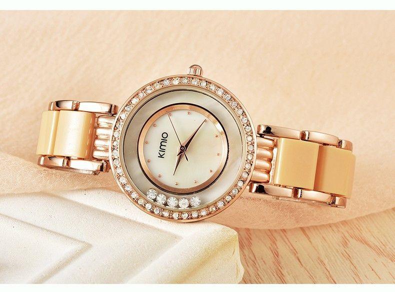 Kimio watches women rose gold simulated-ceramic band rhinestones ladies quartz-watch montre femme hour clock relojes mujer