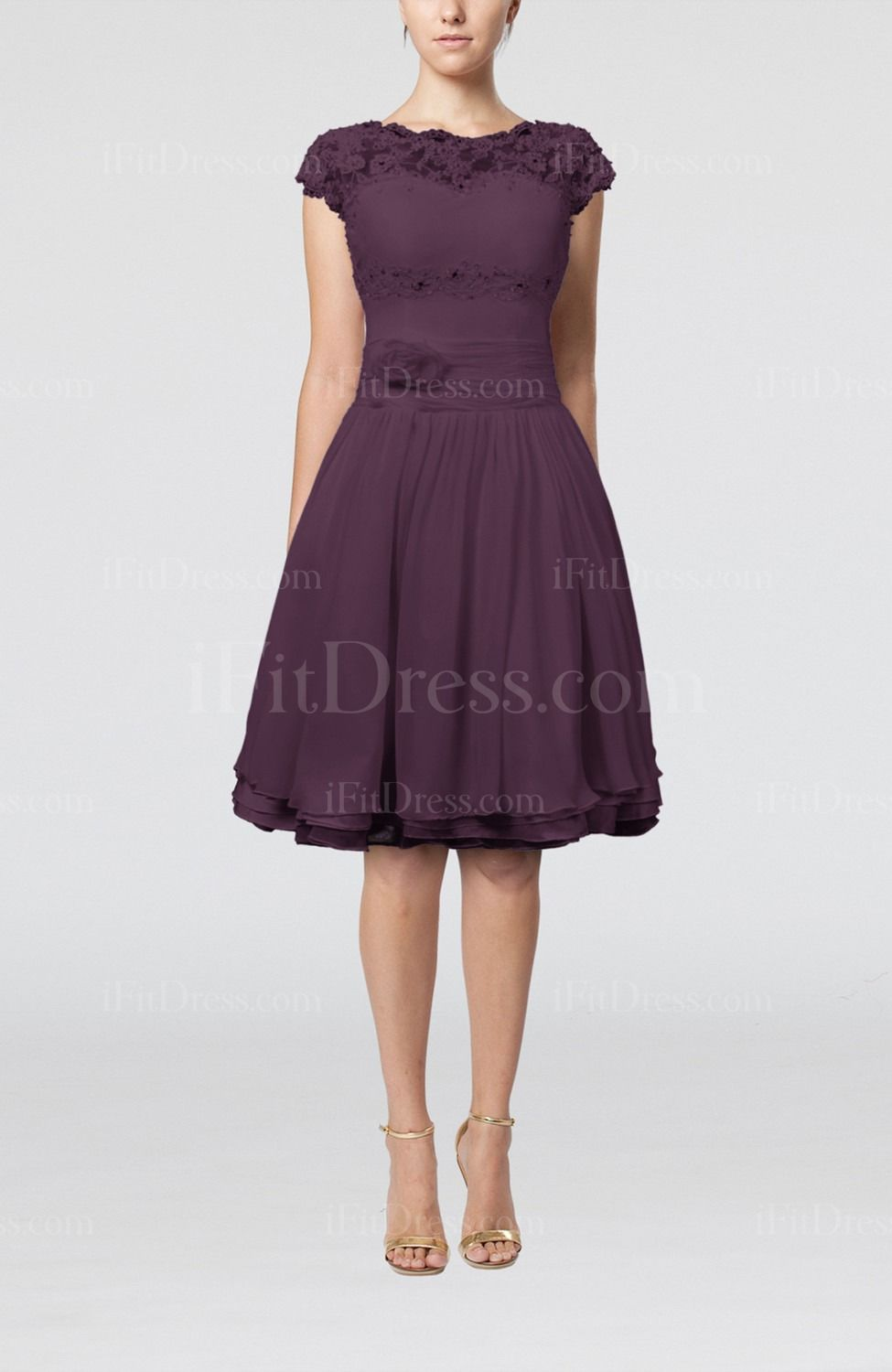 Plum Cinderella Scalloped Edge Short Sleeve Chiffon Knee Length Lace ...