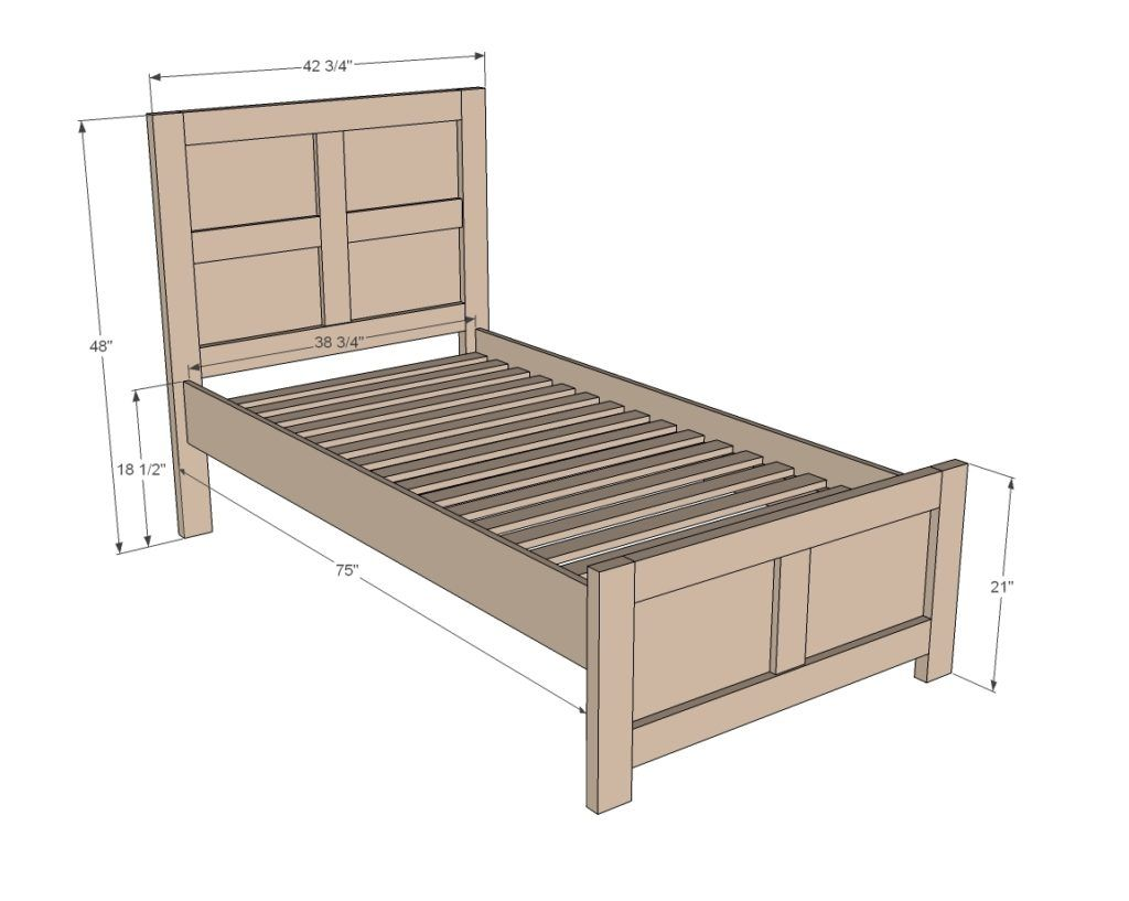 Standard Twin Bed Frame   Diy twin bed, Diy twin bed frame ...