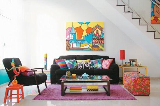 Inspiração décor de Segunda-feira – salas de estar coloridas