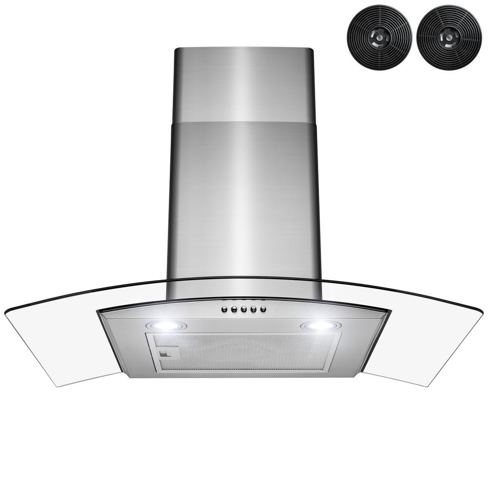 Golden Vantage 30 In Convertible Wall Mount Range Hood With Leds Push Control And Carbon Filters In Stainless Steel Rh0454 The Home Depot In 2021 Wall Mount Range Hood Range Hood Carbon Filter