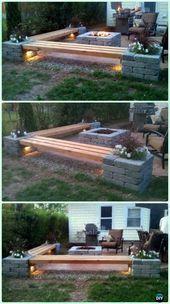 DIY Propan-Kamin & Eckbänke mit Landschaftsbeleuchtung und Säulen mit P - #amp #DIY #Eckbänke #Landschaftsbeleuchtung #Mit #PropanKamin #Säulen #und #campfire