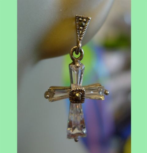 STERLING 925 SILVER MARCASITE and QUARTZ CROSS EARRINGS POST or STUD