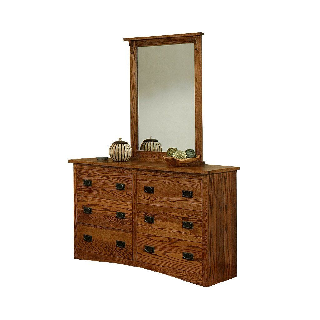 OD O M311 and OD O M312 Mission Oak 6 Drawer Dresser with Mirror