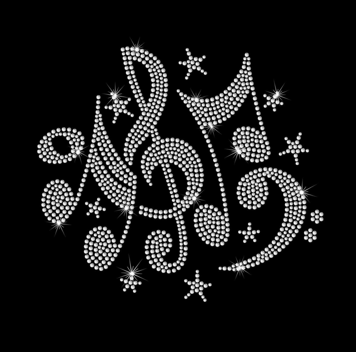Music Notes Rhinestone Band Bling Iron on Heat Transfer by ...
