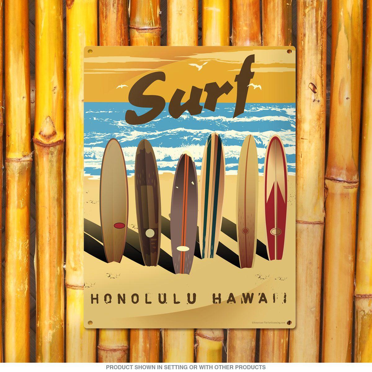 Surf Honolulu Hawaii Surfboards Beach Sign   Honolulu hawaii ...