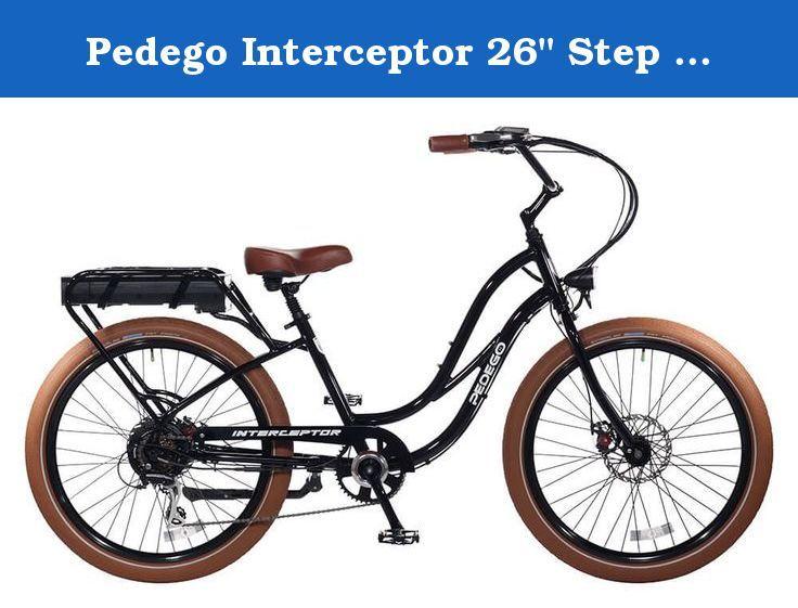 Pedego Interceptor 26 Step Thru Black With Brown Balloon Package 48v 10ah The Electric Bike That Has It All Combining Beach Electric Bike Interceptor Bike