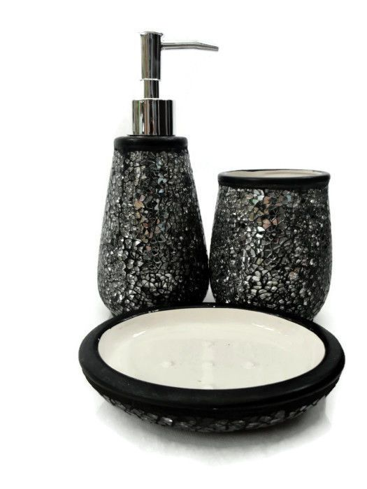 Great BLACK SILVER CRACKLE SPARKLE GLITTER 3 PCE SOAP DISPENSER NEXT DAY POSTING