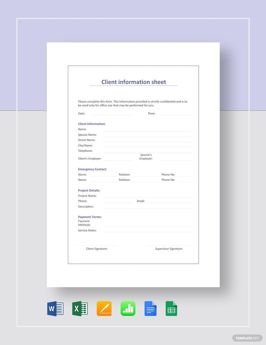 Client Information Sheet Template in 2020 | Card templates ...