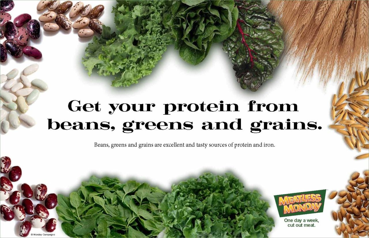 Get your protein from beans, greens and grains. #MeatlessMonday