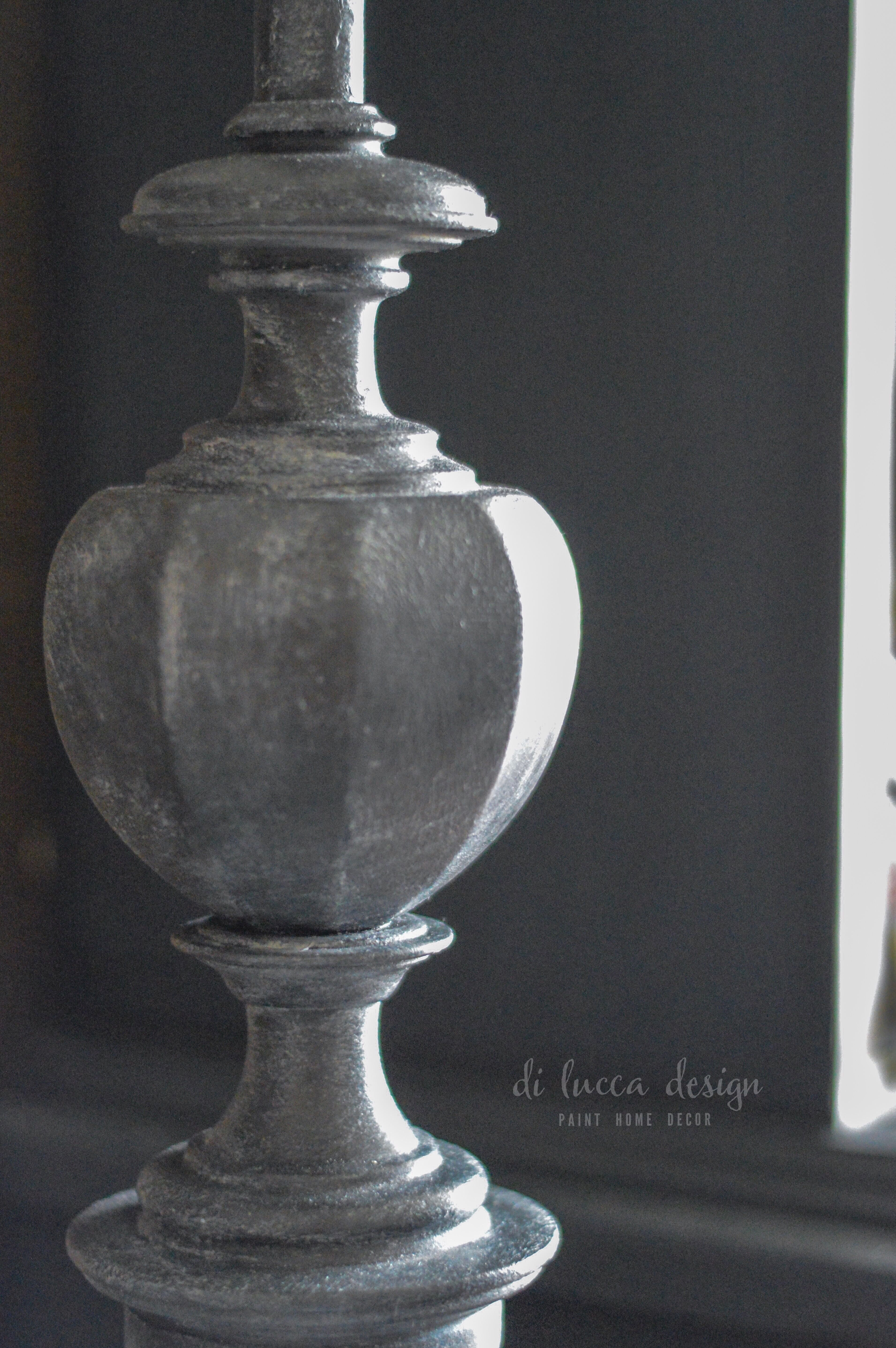 Graphite Chalk Paint By Annie Sloan On A Lamp Base With A Pure White Dry Brush Graphite Chalk Paint Chalk Paint Furniture Chalk Paint