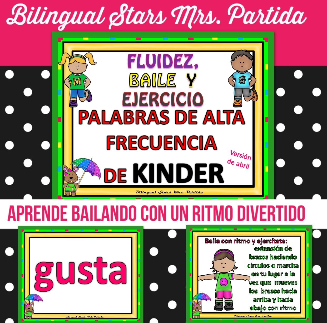 Spanish Kindergarten Sight Words Dance Amp Exercise Palabras