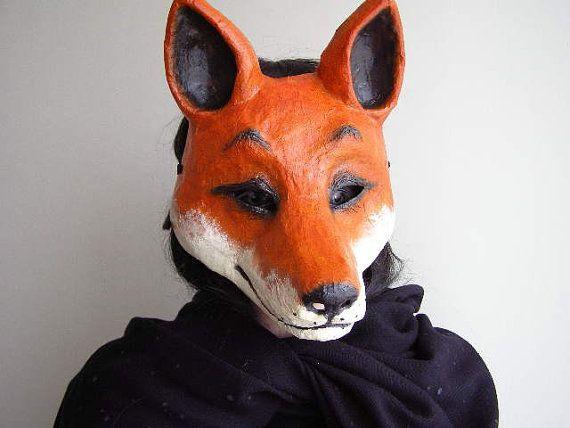 Masquerade Mask Fox Mask Paper Mache Mask Halloween Mask Mardi