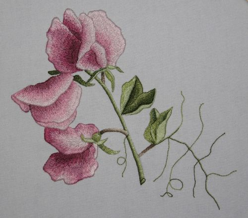 Inspiration Sweet Pea Embroidery Flowers Japanese Embroidery Embroidery