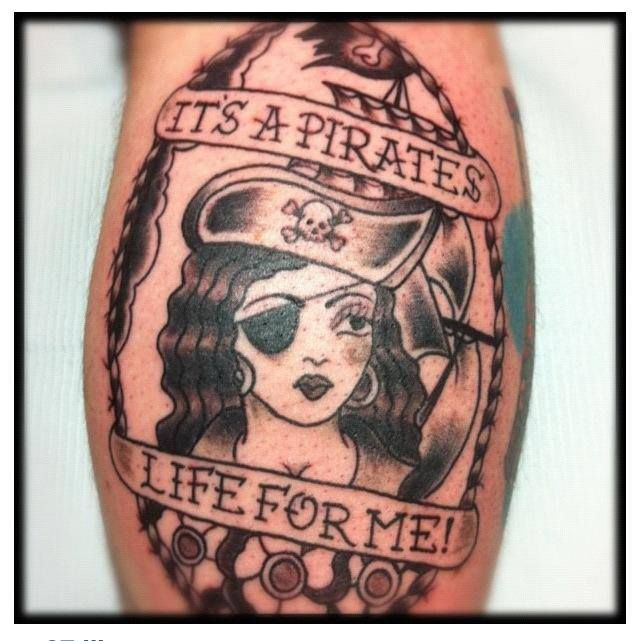 Pirate, Modznrockers, Blackpool. #Pirate #Custom #Freehand #Tattoo #Blackandgrey #Women #Oldschool