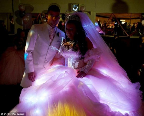 find this pin and more on tacky weddings gypsy wedding dress lights up pretty awesome my big fat