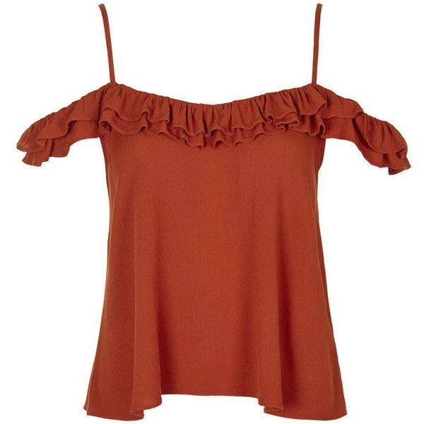 1c2915d7011e48 TopShop Cold Shoulder Frill Strap Top ($31) ❤ liked on Polyvore featuring  tops, rust, red ruffle top, frilly tops, cutout shoulder top, rayon tops  and ...
