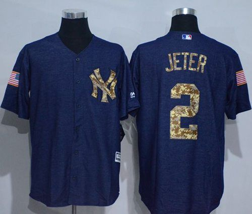 f0205edb5 Yankees  2 Derek Jeter Denim Blue Salute to Service Stitched MLB Jersey
