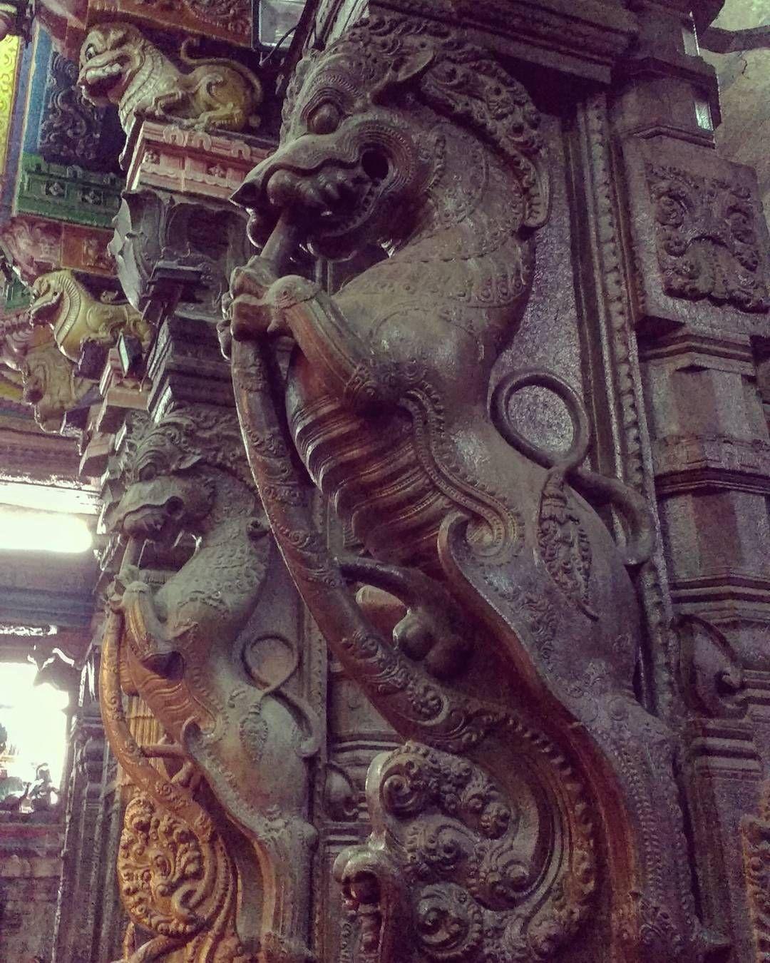 Yaali idol madurai temple india travel architecture