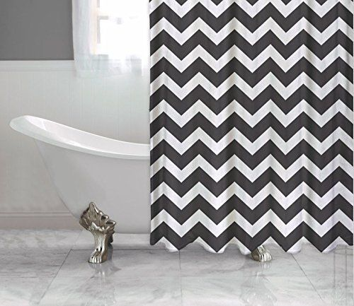 Transverse Stripes Pattern Bathroom Curtain Decor Precise Waterproof Shower