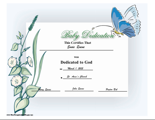 Baby Dedication Certificate  Certificates For All Ocassions