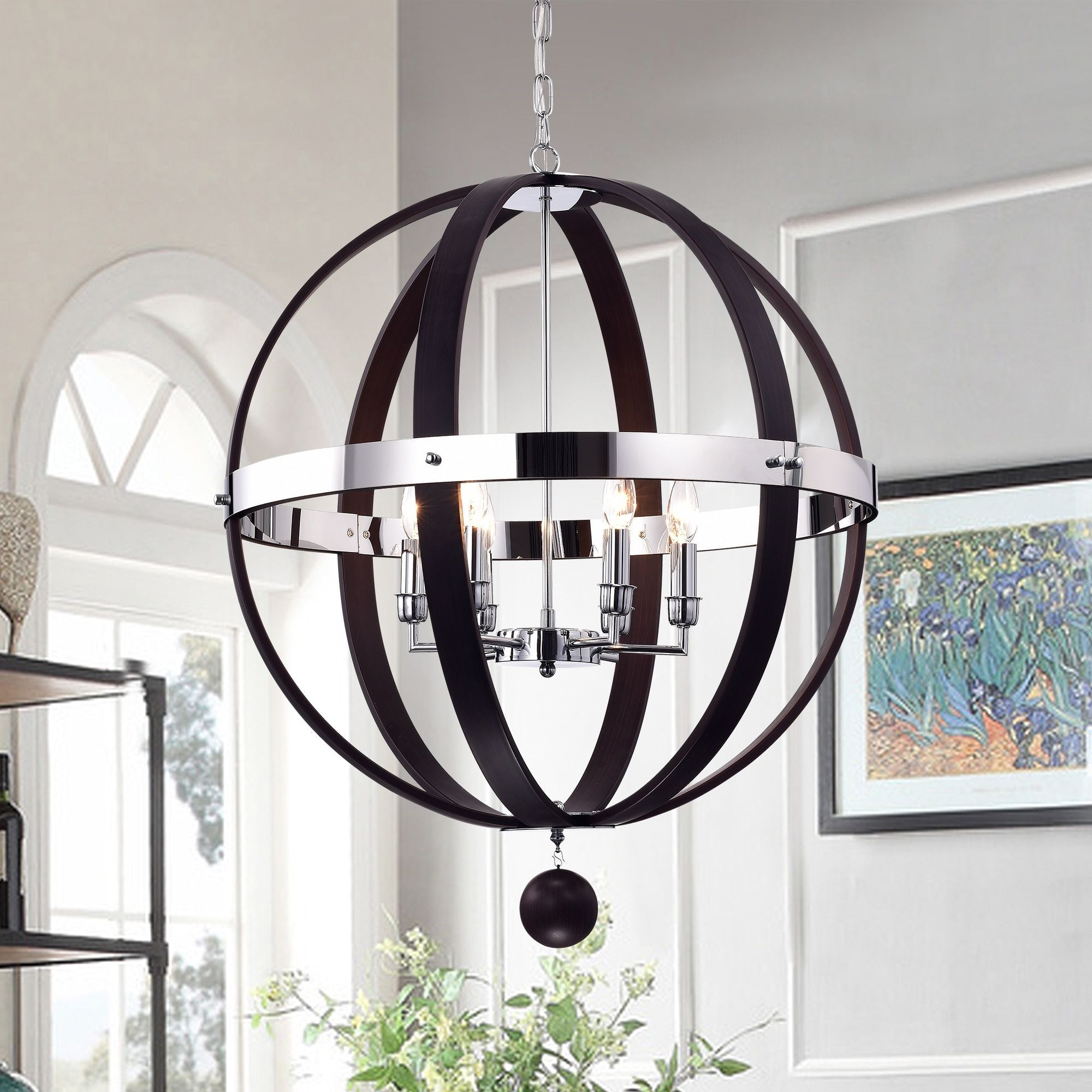 Warehouse of Tiffany Nisa Brown Wood and Chrome 25 inch Round